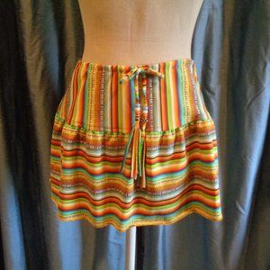 Saks Swim Skirt Coverup Rainbow Beads Boho Sweet